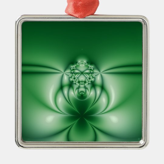 97 Abstract Green Floral Metal Ornament
