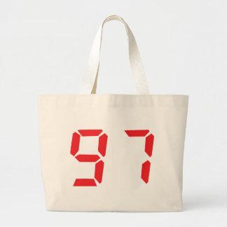 97 ninety-seven red alarm clock digital number tote bag