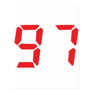 97 noventa y siete números digitales del despertad tarjeta postal