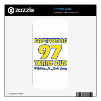 97 YEARS OLD BIRTHDAY DESIGNS SKIN FOR THE iPhone 4S