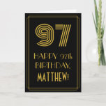 "[ Thumbnail: 97th Birthday: Art Deco Inspired Look ""97"" & Name Card ]"