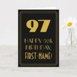 "[ Thumbnail: 97th Birthday – Art Deco Inspired Look ""97"" & Name Card ]"