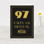 "[ Thumbnail: 97th Birthday ~ Art Deco Inspired Look ""97"" & Name Card ]"