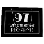 "[ Thumbnail: 97th Birthday: Art Deco Inspired Style ""97"", Name Gift Bag ]"
