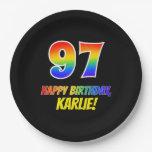 [ Thumbnail: 97th Birthday: Bold, Fun, Simple, Rainbow 97 Paper Plate ]
