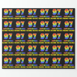 [ Thumbnail: 97th Birthday: Bold, Fun, Simple, Rainbow 97 Wrapping Paper ]