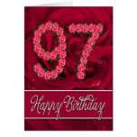 97th birthday card with roses and leaves