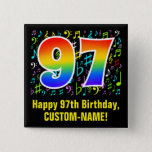[ Thumbnail: 97th Birthday: Colorful Music Symbols, Rainbow 97 Button ]