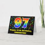 [ Thumbnail: 97th Birthday: Colorful Music Symbols & Rainbow 97 Card ]