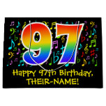 [ Thumbnail: 97th Birthday - Colorful Music Symbols, Rainbow 97 Gift Bag ]