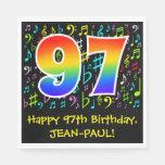 [ Thumbnail: 97th Birthday - Colorful Music Symbols, Rainbow 97 Napkins ]