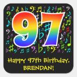 [ Thumbnail: 97th Birthday: Colorful Music Symbols, Rainbow 97 Sticker ]