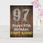 [ Thumbnail: 97th Birthday: Country Western Inspired Look, Name Card ]
