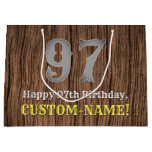 [ Thumbnail: 97th Birthday: Country Western Inspired Look, Name Gift Bag ]