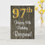 [ Thumbnail: 97th Birthday: Elegant Faux Gold Look #, Faux Wood Card ]