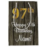 [ Thumbnail: 97th Birthday: Elegant Faux Gold Look #, Faux Wood Gift Bag ]