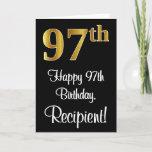 [ Thumbnail: 97th Birthday ~ Elegant Luxurious Faux Gold Look # Card ]