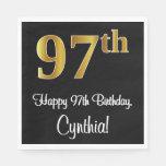 [ Thumbnail: 97th Birthday ~ Elegant Luxurious Faux Gold Look # Napkins ]
