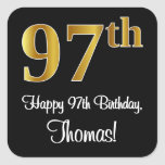 [ Thumbnail: 97th Birthday - Elegant Luxurious Faux Gold Look # Sticker ]