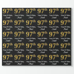 [ Thumbnail: 97th Birthday: Elegant Luxurious Faux Gold Look # Wrapping Paper ]