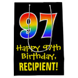 "[ Thumbnail: 97th Birthday: Fun, Bold, Colorful, Rainbow ""97"" Gift Bag ]"