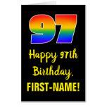 [ Thumbnail: 97th Birthday: Fun, Colorful, Happy, Rainbow # 97 Card ]