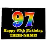 [ Thumbnail: 97th Birthday ~ Fun, Colorful, Vibrant, Rainbow 97 Gift Bag ]