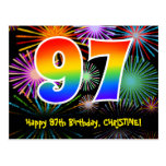[ Thumbnail: 97th Birthday – Fun Fireworks Pattern + Rainbow 97 Postcard ]