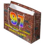 [ Thumbnail: 97th Birthday: Fun, Graffiti-Inspired Rainbow # 97 Gift Bag ]