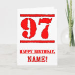 [ Thumbnail: 97th Birthday: Fun, Red Rubber Stamp Inspired Look Card ]