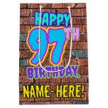 [ Thumbnail: 97th Birthday: Fun, Urban Graffiti Inspired Look Gift Bag ]