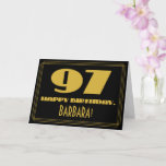 "[ Thumbnail: 97th Birthday: Name + Art Deco Inspired Look ""97"" Card ]"