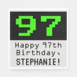 """[ Thumbnail: 97th Birthday - Nerdy / Geeky Style """"97"""" & Name Napkins ]"""