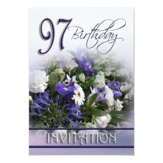 97th Birthday Party Invitation - Blue bouquet 13 Cm X 18 Cm Invitation Card