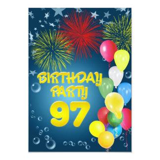 "97th Birthday party Invitation with balloons 5"" X 7"" Invitation Card"