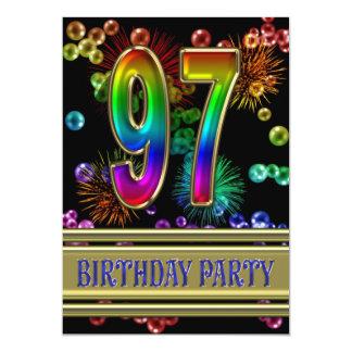 "97th Birthday party Invitation with bubbles 5"" X 7"" Invitation Card"