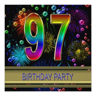 """97th Birthday party Invitation with bubbles 5.25"""" Square Invitation Card"""