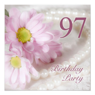 """97th Birthday party invitation with daisies 5.25"""" Square Invitation Card"""