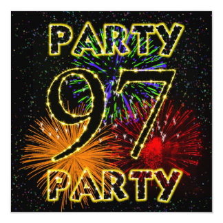 """97th birthday party invitation with fireworks 5.25"""" square invitation card"""