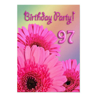 """97th Birthday party invitation with pink flowers 5"""" X 7"""" Invitation Card"""
