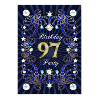 """97th birthday party invite with masses of jewels 5"""" x 7"""" invitation card"""