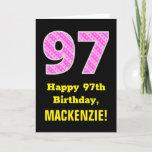 "[ Thumbnail: 97th Birthday: Pink Stripes and Hearts ""97"" + Name Card ]"