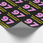 """[ Thumbnail: 97th Birthday: Pink Stripes and Hearts """"97"""" + Name Wrapping Paper ]"""