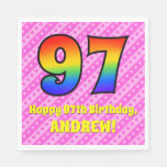 [ Thumbnail: 97th Birthday: Pink Stripes & Hearts, Rainbow # 97 Napkins ]