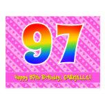[ Thumbnail: 97th Birthday: Pink Stripes & Hearts, Rainbow 97 Postcard ]