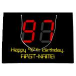 "[ Thumbnail: 97th Birthday: Red Digital Clock Style ""97"" + Name Gift Bag ]"