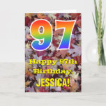 "[ Thumbnail: 97th Birthday; Rustic Autumn Leaves; Rainbow ""97"" Card ]"