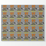 [ Thumbnail: 97th Birthday: Spooky Halloween Theme, Custom Name Wrapping Paper ]