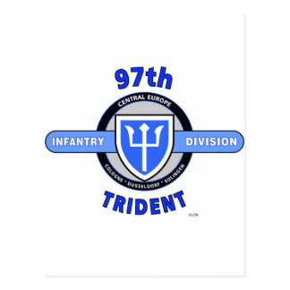 "97TH INFANTRY DIVISION ""TRIDENT"" DIVISION POSTCARD"