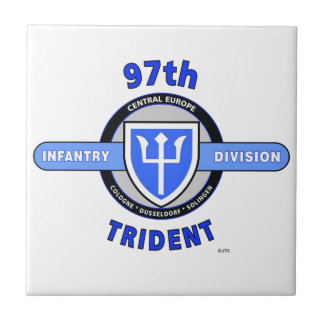"97TH INFANTRY DIVISION ""TRIDENT"" DIVISION SMALL SQUARE TILE"